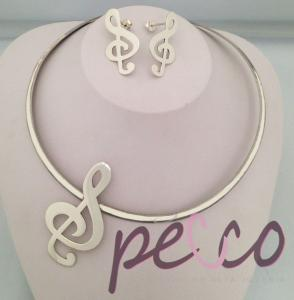 joyas de notas musicales en plata