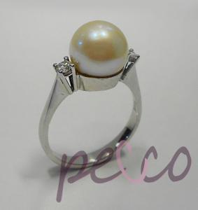 Destello mar anillos compromiso oro perla natural engastado diamantes