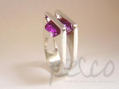 ALEJANDRA LIBRE Anillo plata 950 diamantes oro blanco Bogota Coombia