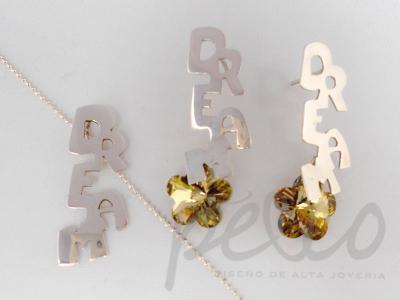 Juego aretes, cadena y dije elaborado plata con cristales by swarovsy elements