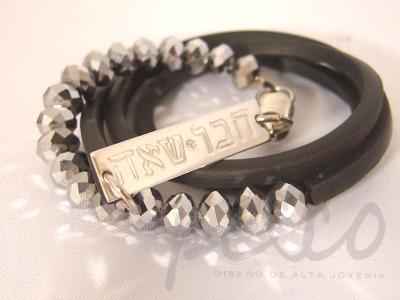 Pulsera en neopreno y cristales lamina personalizada en plata con 2 nombres