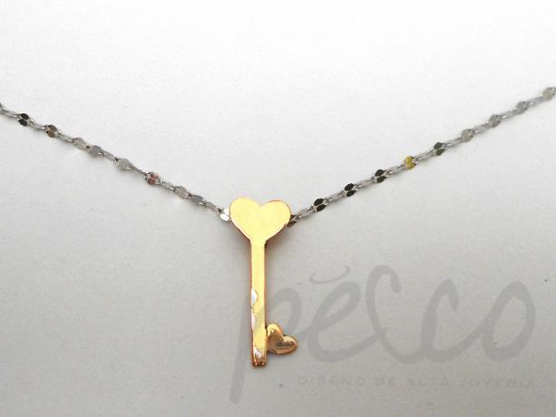 3ee7c3c1c061 Cadena dije elaborado oro blanco rosado 18 joyas collares anillos ...